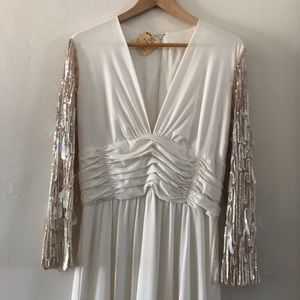 Vintage, white sequined gown